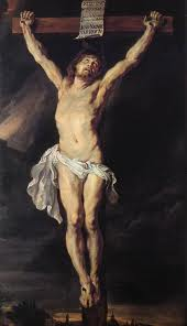 Christ, our Lord, nailed to the wood of the Cross, the Alter upon which He offered Himself as both Priest and Victim.