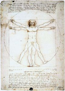 Leonardo da Vinci: The Proportions of the Human Figure (Vitruvian Manek) (1490; Pen, ink and watercolour over metalpoint) Attribution: Wikimedia Commons. This work is in the public domain in the United States, and those countries with a copyright term of life of the author plus 100 years or less