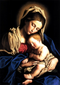 Attribution: Giovanni Battista Salvi, il Sassoferrato (1609 -1685) The Madonna and Child embracing. Oil on canvas.  This work belongs to the public domain.