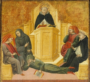 """Thomas Aquinas Confounding Averroes"" - Attribution: Giovanni di Paolo [Public domain], via Wikimedia Commons"