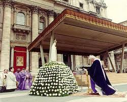 St. John Paul the Great's effort to comply with Our Lady of Fatima's request for  a collegial consecration of Russia to her Immaculate Heart.